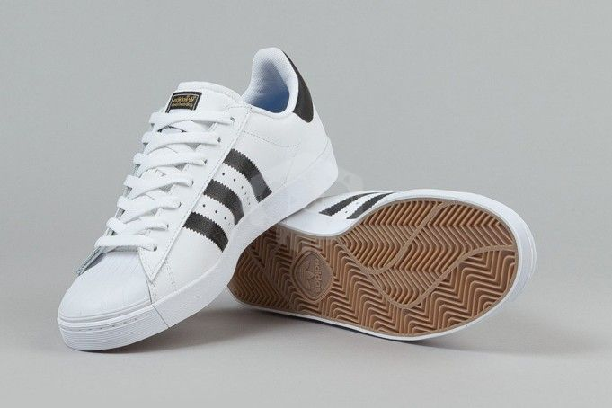 Adidas Superstar Vulc Adv White Pink Stripe Shoes